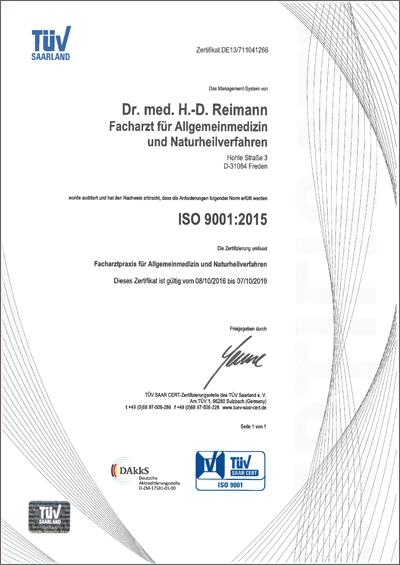 TÜV-Zertifikat - Dr. Reimann, Freden